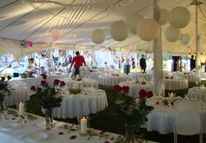 38' x 86' oval party tent